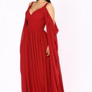da6e3e9fce8 Fashion Nova Dresses - Burgundy Formal Maxi Chiffon Dress - Fashion Nova